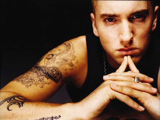 eminem tattoos on back. Rapper Eminem is set to open